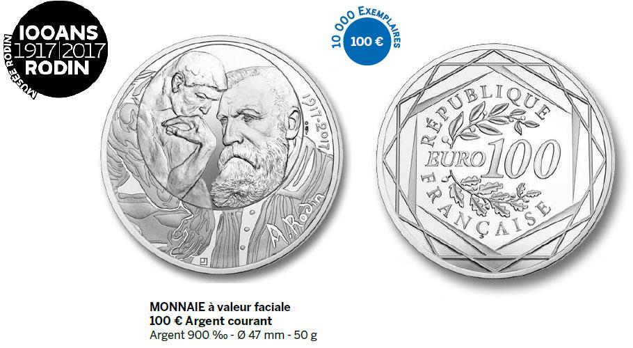 Monnaie à valeur faciale 100 € Argent courant