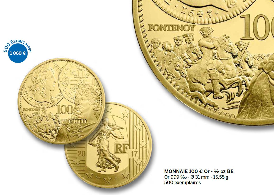 Exemple : pièce commémorative 100 euro Louis d'or / Semeuse Monnaie de Paris 2017