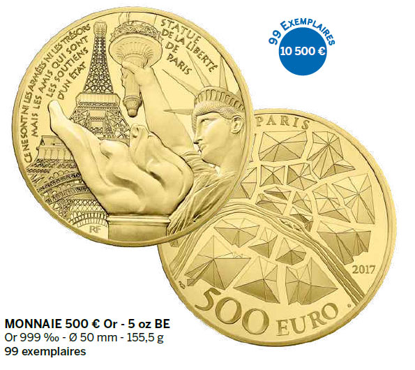 Monnaie 500 € Or - 5 oz BE