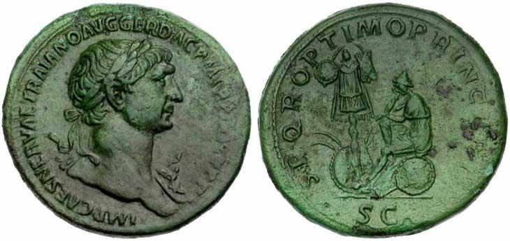 Sesterce de Trajan Revers victoire sur les Daces