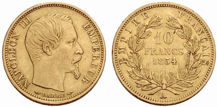Pièce cotée : pièce de 10 francs or Napoléon III petit module