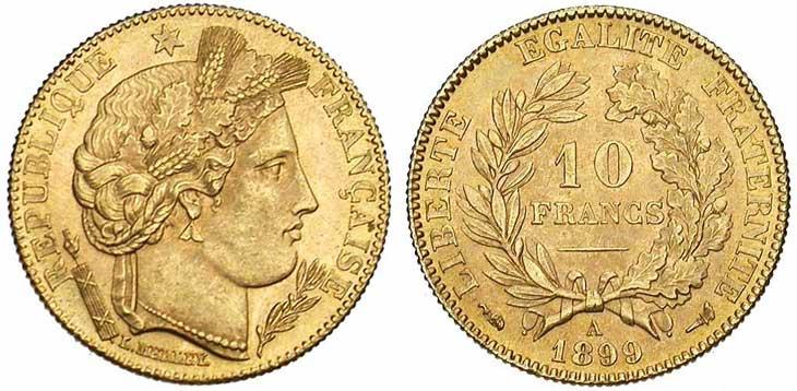 Pièce cotée : pièce de 10 francs or Cérès 3ème République