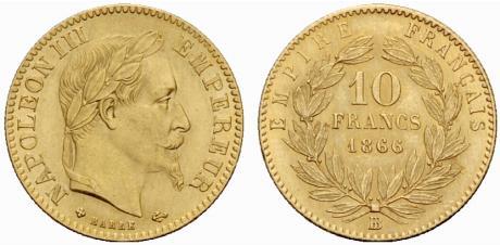 Pièce cotée : pièce de 10 francs or Napoléon III tête laurée