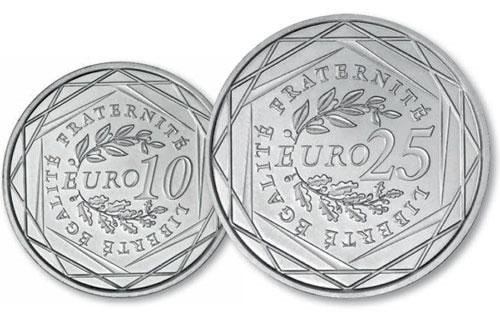 nouvelles pièces de 10 et 25 euro argent 2009