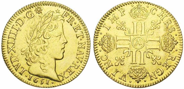 Monnaie du jour : Louis d'or de Louis XIV à la mèche longue