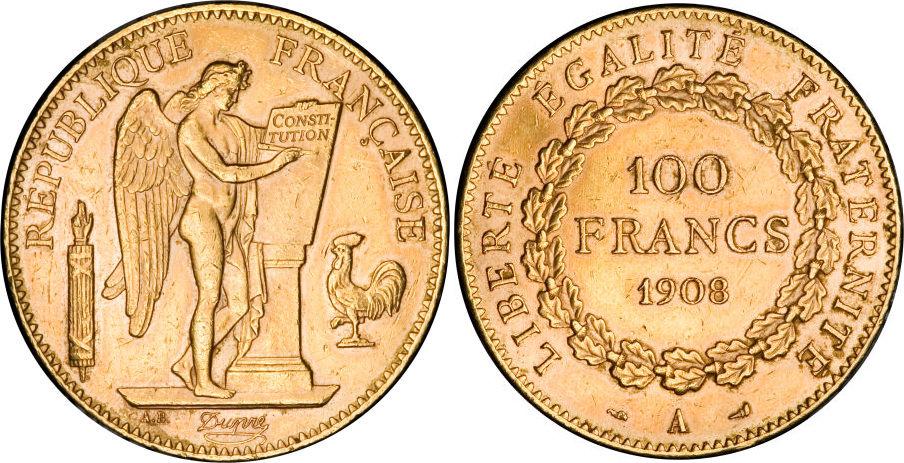 100 francs or génie 1908 A