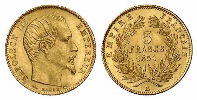 Exemple de pièce de de 5 francs or