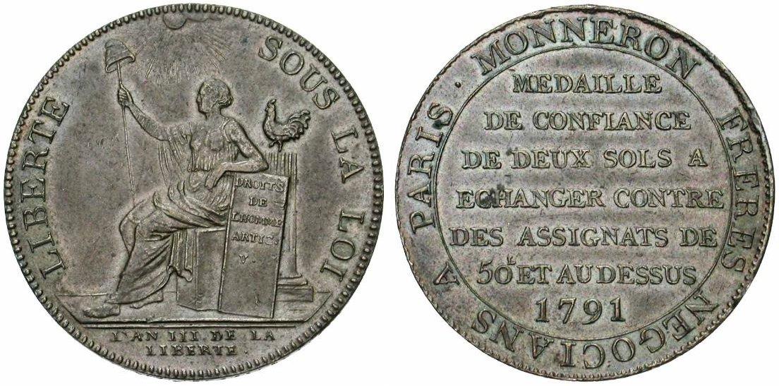 Monneron. Exemple de monnaie de Confiance Monneron de 2 sols au type la liberté assise