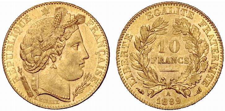 Exemple de pièce de 10 francs or. 10 francs or Cérès 1899 A