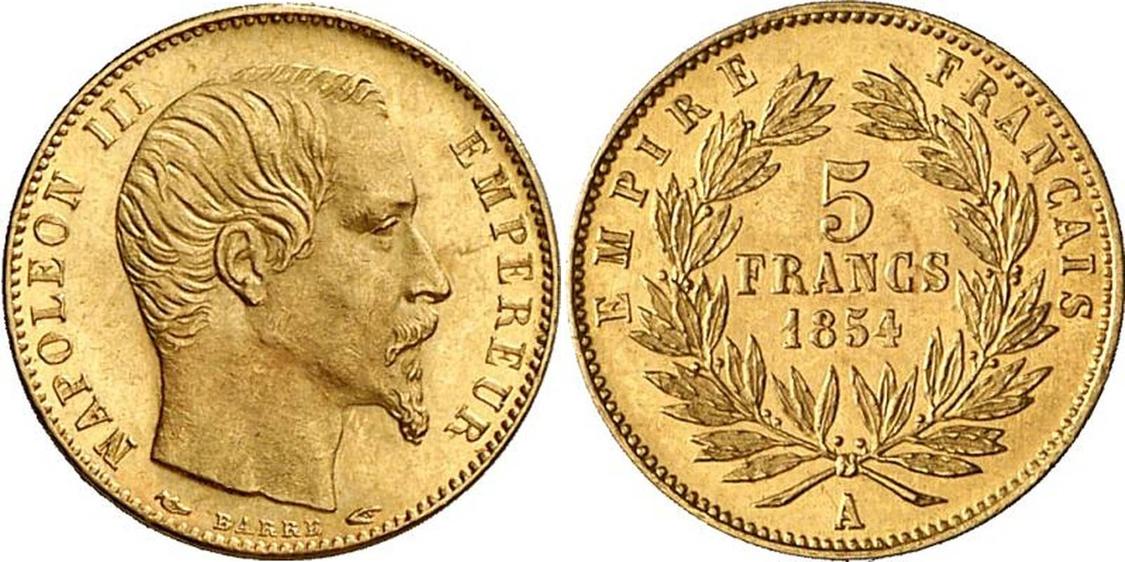 5 francs or Napoléon III petit module