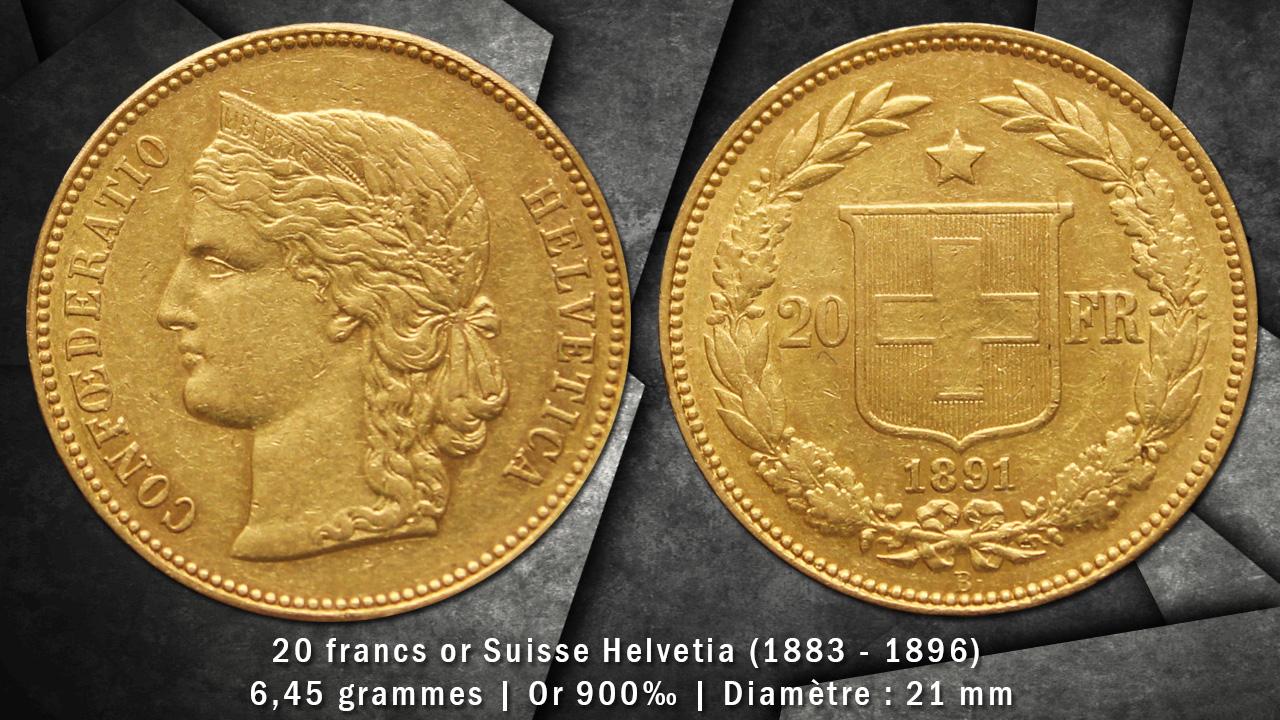 Pièce or 20 francs Suisse Helvetia avers revers