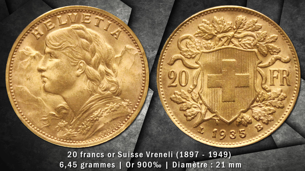 Pièce or 20 francs Suisse Vreneli avers revers