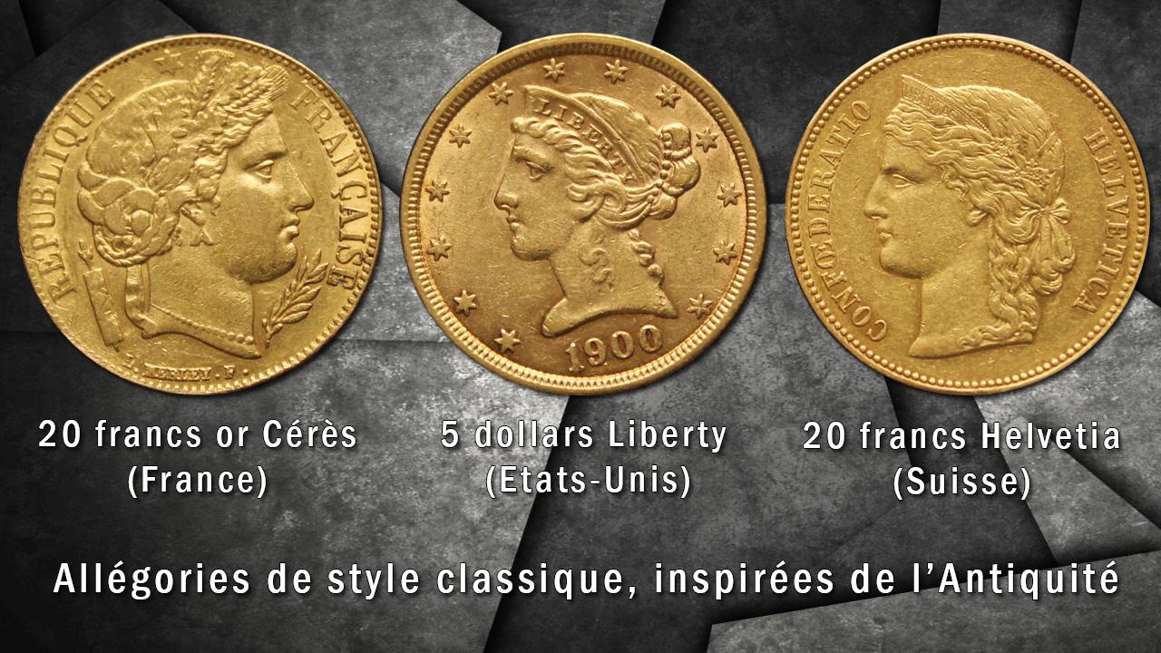 Photo de 3 pièces d'or au portrait classique : 20 francs or Cérès, 5 dollars Etats-Unis et 20 francs or Helvetia