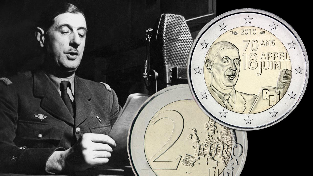 Photo de la pièce de 2 euro commémorative Appel du 18 juin
