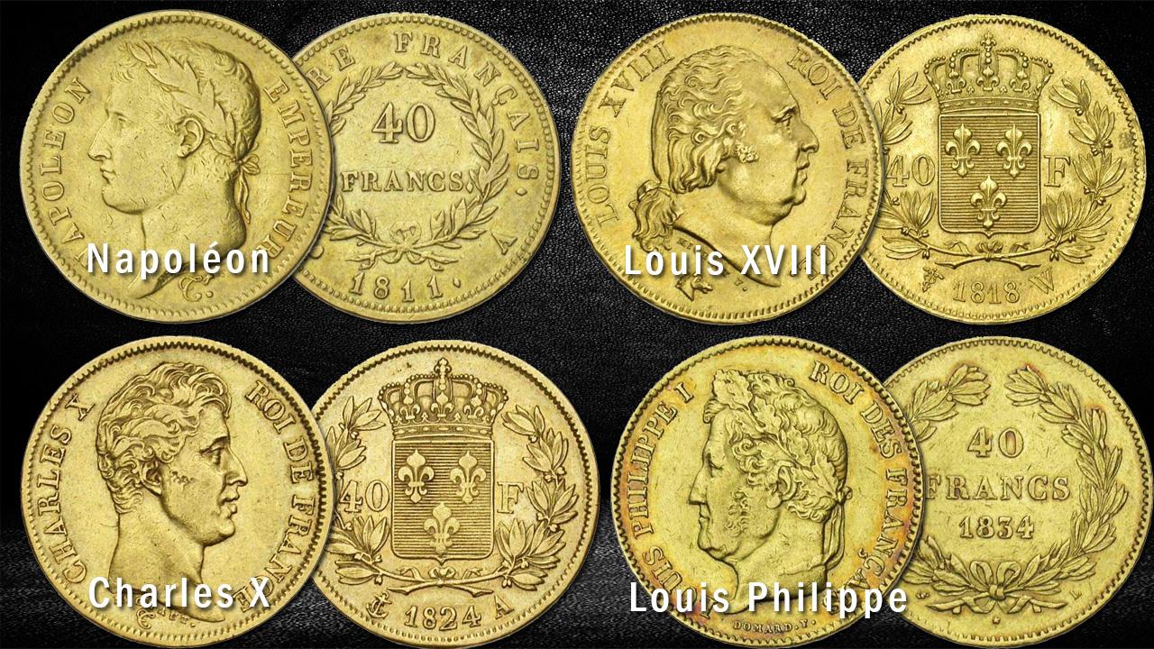 Exemples de pièces de 40 francs or