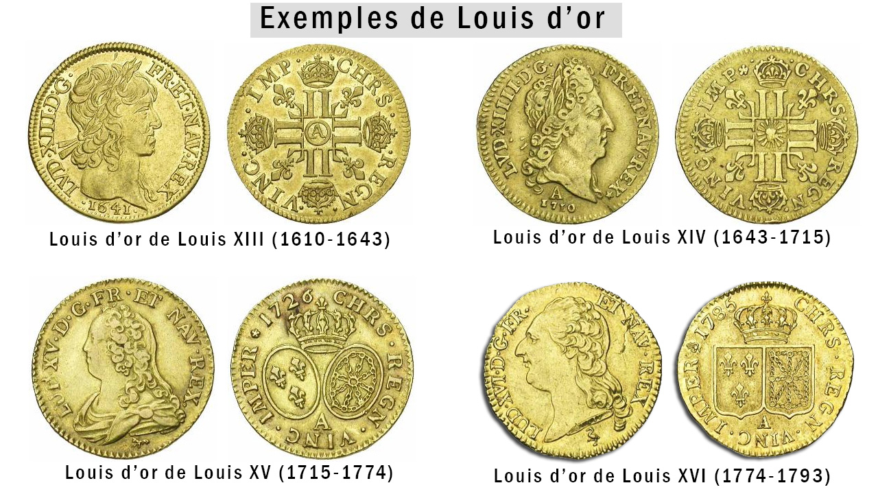 Quelques exemples de Louis d'or