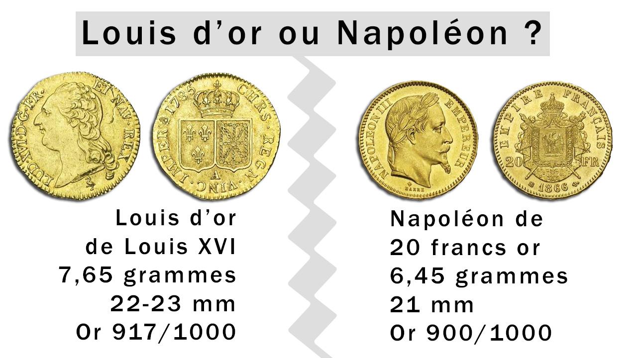 Louis d'or et Napoléon : deux catégories de pièces très différentes