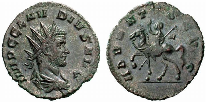 Claude II dit le Gothique, 268-270 après JC. Antoninien, 3,23 grammes, diamètre de la monnaie : 22 mm. Avers de la monnaie : IMP C CLAV-DIVS AVG Buste drapé tourné à droite. Revers de la monnaie : ADVENTVS AVG L'Empereur chevauchant à gauche, levant la main droite et tenant une lance.