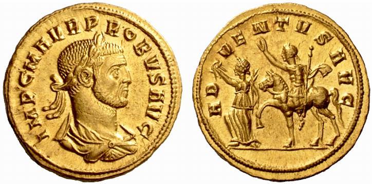 Probus, 276-282 après JC. Aureus (or), frappé à Siscia en 276-282 après JC, 6.50 grammes. diamètre : 23 mm. Avers de la monnaie : IMP C M AVR PROBVS AVG Buste lauré, drapé et cuirassé tourné à droite. Rervers de la monnaie : ADVENTVS AVG L'Empereur, précédé par une Victoire, chevauchant à gauche, tenant unsceptre dans la main gauche et levant la main droite