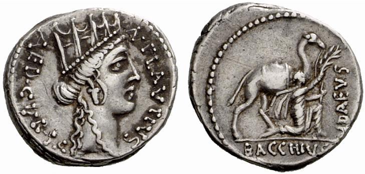 Denier de la République Romaine représentant l'Arabie
