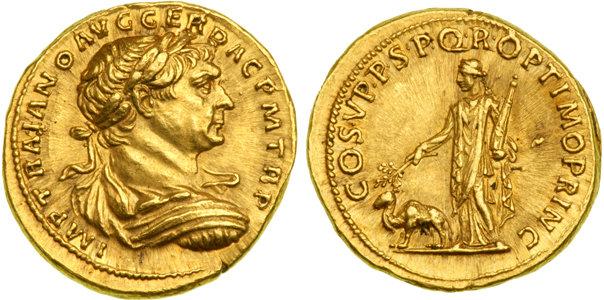 Aureus de Trajan, 98-117 après JC. Or, 7.19 grammes, frappé à Rome en 109 après JC