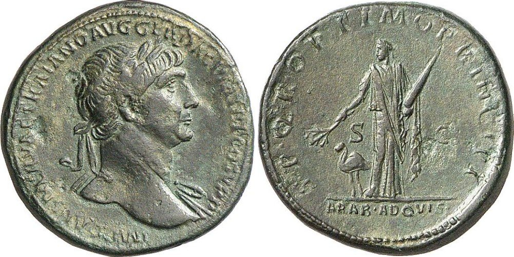 Sesterce de l'Empereur Trajan (98-117 après JC). Bronze, 27,98 grammes), frappé en 103-111 après JC.
