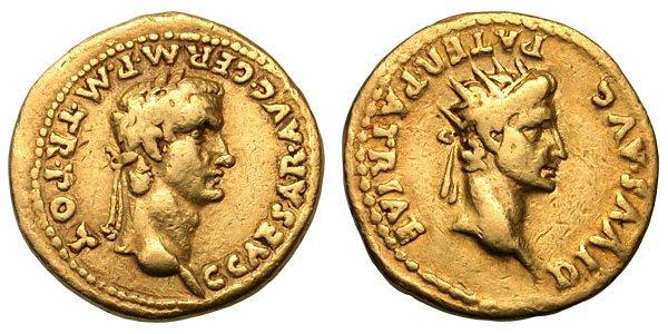 Portrait de Caligula à l'avers d'un aureus (références de la monnaie : RIC 15, Cohen 1, BMC 16 )