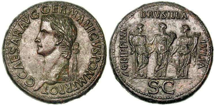 Portrait de Caligula (37-41 après JC), sur un sesterce (27.92 grammes) frappé à Rome en 37-38 après JC.