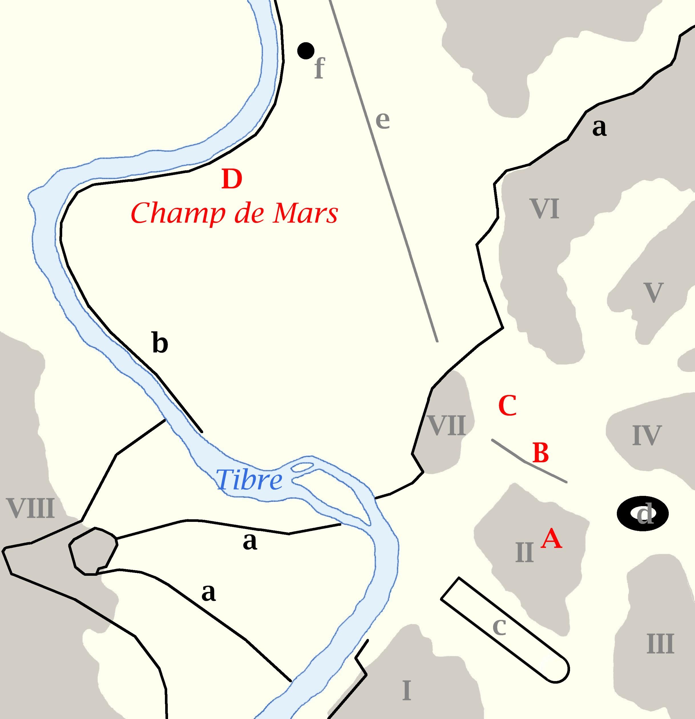 Carte de Rome : les lieux de la Consécration des Empereurs romains