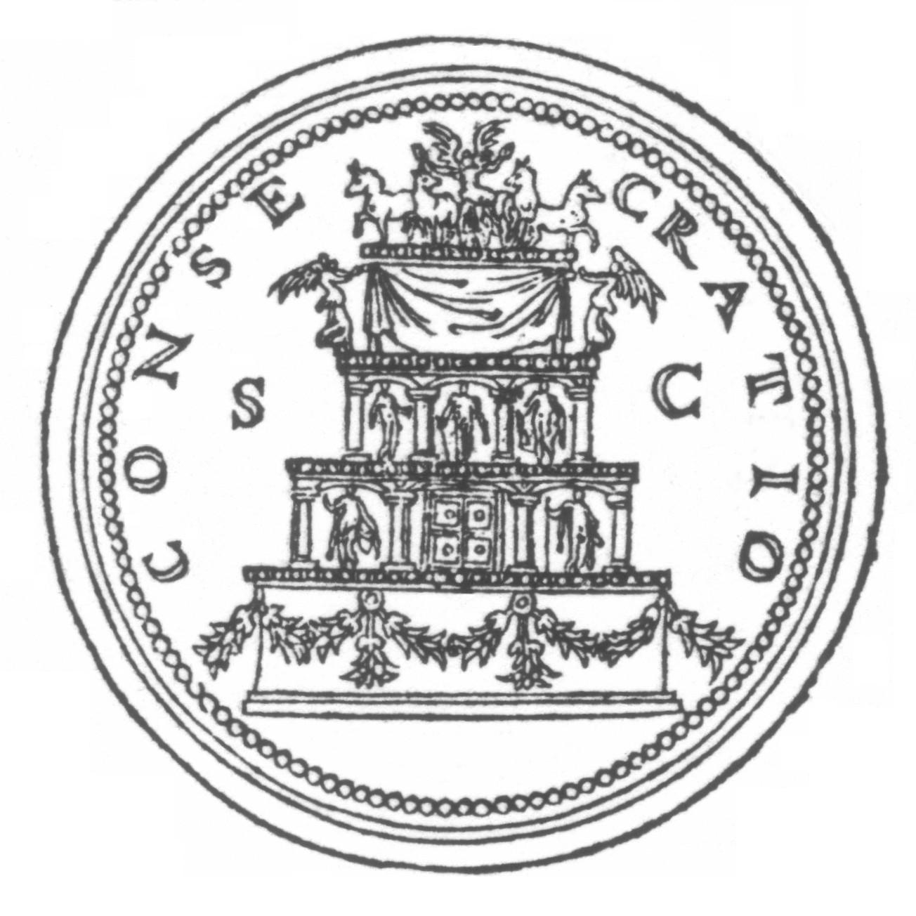 Gravure n°1 - Revers d'un sesterce sur lequel est gravée l'image du bûcher funéraire d'Antonin le Pieux. (Gravure du XVII° siècle).