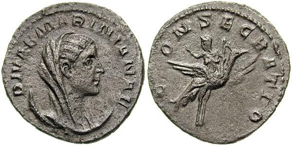 Monnaie n°4 - Antoninien de Matidie, épouse de Valérien I (253-260 ap. JC); c'est un paon, et non pas un aigle, qui conduit Matidie chez les dieux. Photo CNG.