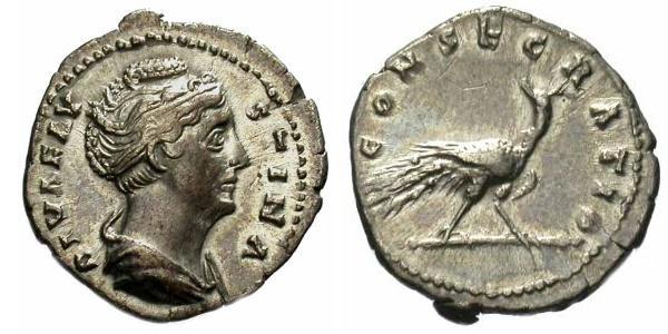 Monnaie n°5 - Denier de Faustine l'Ancienne. Sur le revers c'est un paon qui est associé à la légende
