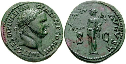 Monnaie n°6 - Sesterce de Titus, frappé en 80-81 après JC. La légende de l'avers indique la titulature suivante :