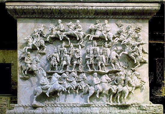 Représentation en sculpture de la decursio au moment de la divinisation de l'Empereur
