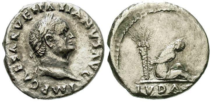 n°11 Denier de Vespasien. A/ IMP CAESAR VESPASIANUS AVG R/ IVDAEA. Femme juive assise à droite sous un palmier, les mains attachées derrière le dos.(Cohen 229).