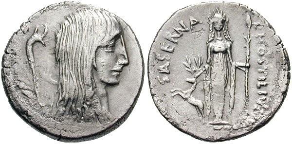 n°14. Denier répulicain, L. Hostilius Saserna, 48 av. J.C. A/ Tête de la Gaule tournée à droite, derrière carnyx. R/ L. HOSTILIVS SASERNA. Diana d'Ephèse debout de face, un cerf à gauche.