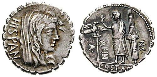 n°15. Denier républicain, A. Postumius A.f. Sp.n. Albinus,  81 av J.C. A/ Tête voilée de l'Espagne tournée à droite. A/ Personnage en toge debout entre une Aigle romaine et des faisceaux.