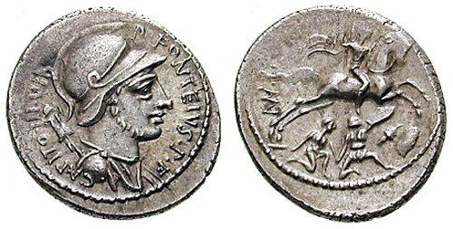 n°19. Denier de P. Fonteius P.f. Capito, 55 av. JC. A/ Buste casqué de Mars tourné à droite R/ Guerrier sur un chevel galoppant à droite, guerriers gaulois en dessous