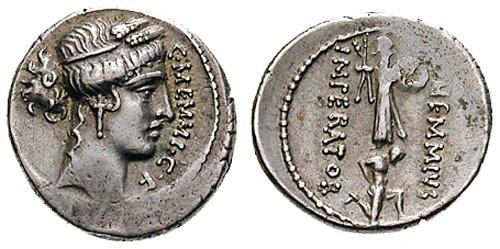n°21. Denier de C. Memmius 56 av. J.C. A/ Tête de Cérès à droite R/ Captif agenouillé à droite, devant un trophée.