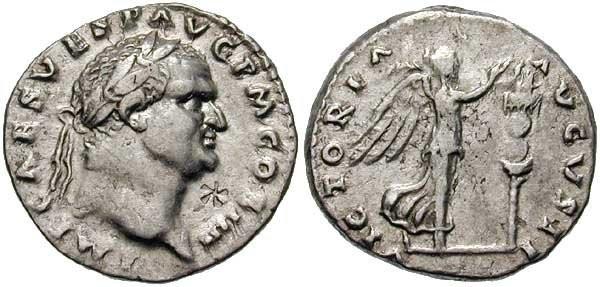 n°23. Denier de Vespasien, frappé en 72-73 ap. J.C. A/ IMP CAES VESP AVG P M COS IIII. R/ VICTORIA AVGVSTI, Victoire avançant à droite, tenant une palme et plaçant une couronne sur un étendard planté dans le sol