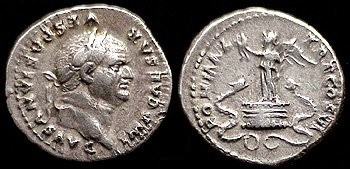 n°24. Denier de Vespasien frappé en 75 ap. J.C. A/ Tête laurée tournée à droite. R/ Victoire debout sur une ciste mystique, un serpent de chaque côté. Le revers de cette monnaie est identique au revers d'un quinaire d'Auguste (photo n°25)