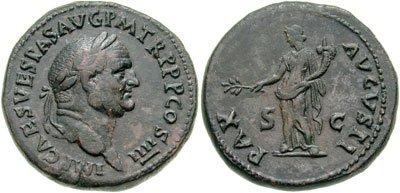 n°28. Sesterce de Vespasien frappé en 72-73 ap. J.C. A/ Tête laurée à droite R/ La Paix debout à gauche, tenant une branche et une corne d'abondance (Cohen 332).