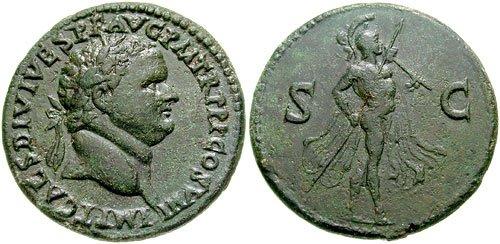 n°30. Sesterce de Titus frappé en 80-81 ap. J.C. A/ Tête laurée à droite R/ Mars marchant à droite, portant une lance et un trophée. (Cohen 203, var).