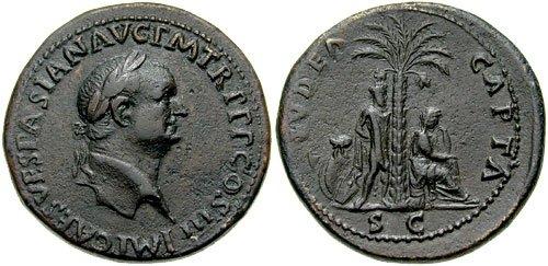 n°6 et 7 Sesterces de Vespasien, frappés en 71. A/ IMP CAES VESPASIAN AVG P M TR P P P COS III. R/  IVDAEA CAPTA, S C en exergue. Femme juive en pleurs assise sur une cuirasse à droite. A droite, un prisonnier juif debout attaché les mains derrière le dos. Derrière, un palmier. Les armes représentées au sol varient d'un exemplaire à l'autre. (Cohen 238).