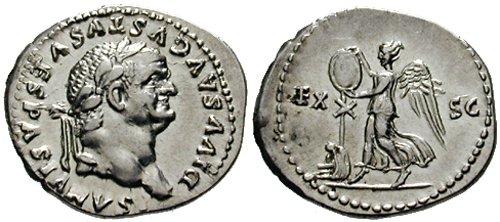 n°9. Denier de Vespasien, postume (frappé sous Titus, peut-être en 80-81). A/ DIVUS AUGUSTUS VESPASIANUS. R/ EX SC. Victoire debout à droite érigeant un trophée. Dessous la Judée assise. (Cohen 144).
