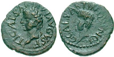 Tibère et Caligula César, sur une monnaie frappée Carthago Nova, Espagne. Tiberius and Gaius Caligula, Caesar. Frappée après la mort de Drusus et Néron Césars (fils de Germanicus). Quadrans de bronze (2,37 gr). A/ Tête laurée de Tibère tournée à droite R/ Tête nus de Caligula tournée à droite. (RPC I 184). (photo CNG)