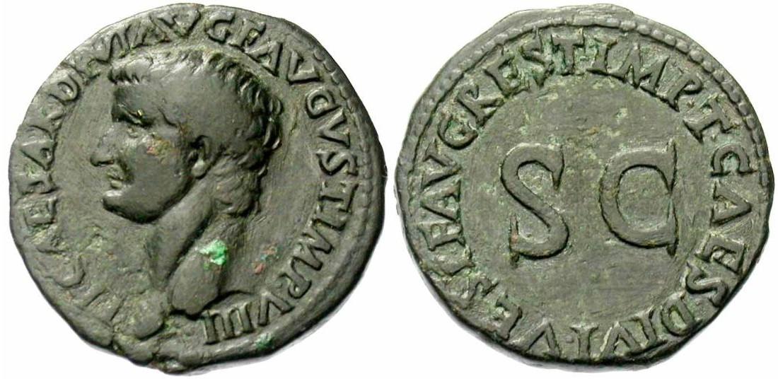 Tibère Auguste. As, frappé Rome en 80-81 ap. JC. Restitution de Titus. 10,28gr. A/ TI CAESAR DIVI AVG F AVGVST IMP VIII Tête nue à gauche. R/ IMP T CAES DIVI VESP F AVG REST Au centre, SC. (RIC 211). Rare. Cette monnaie montre que Tibère n'a pas subi la damnatio memoriae, faute de quoi Titus ne l'aurait certainement pas rendu hommage à sa mémoire (photo Jean Elsen S.A., Numismates)