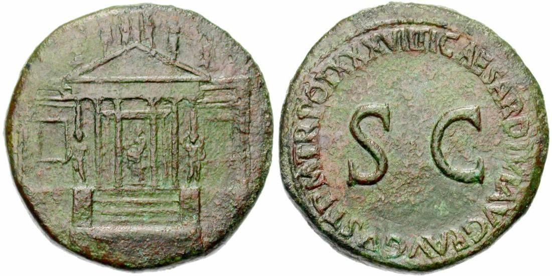 Sesterce de Tibère Auguste, frappé en 35 ap. JC à Rome; 27,93 gr. A/ Temple à huit colonnes, dont six au péristyle et deux aux angles; au centre de la cella une figure nicéphore assise sur un piédestal. Le temple est généralement présenté comme le Temple de la Concordia Augusta à Rome, qui était situé à l'extrêmité du Forum. R/ TI CAESAR DIVI AVG F AVGVST P M TR POT XXXVII. Large S C (Cohen, 69; RIC, 38). Très Rare (photo Jean Elsen S.A., Numismates)