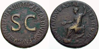 Tibère, sesterce (26,34 gm) frappé en 22-23 à Rome. A/ CIVITATIBVS ASIAE RESTITVTIS, Tibère, la tête laurée, assis à hauche sur une chaise curule, tenant une patère et un sceptre. R/ TI. CAESAR DIVI AVG F AUVGVST P M TR POT XXIIII, autour de S C. (RIC 19). (photo CNG)