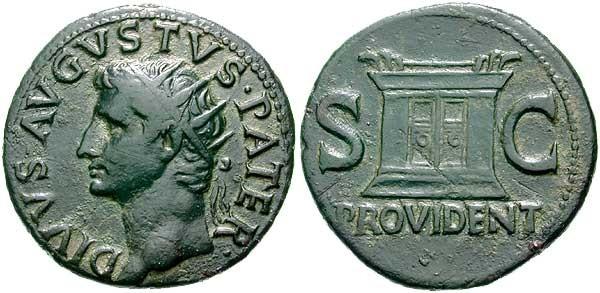 Néron et Drusus (fils de Germanicus), dupondius frappé sous Caligula en 37 ap. JC. A/ NERO ET DRVSVS CAESARES. Néron et Drusus galopant à droite. R/ C CAESAR AVG GERMANICUS PON M TR POT. Dans le champ S C. (RIC, 43). Néron et Drusus, après la mort de leur oncle  Germanicus et de leur père Drusus sont pendent un temps reconnus comme héritiers officiels de Tibère, mais ils meurent tout les deux avant lui, peut-être victimes des intrigues de Séjan. Dès le début de son règne, Caligula leur rend hommage, comme le montre cette monnaie.